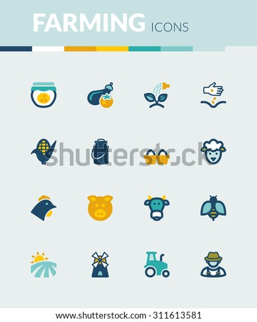 Set of colorful flat icons about  farming - stock vector