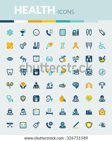 Set of colorful flat icons about health - stock vector