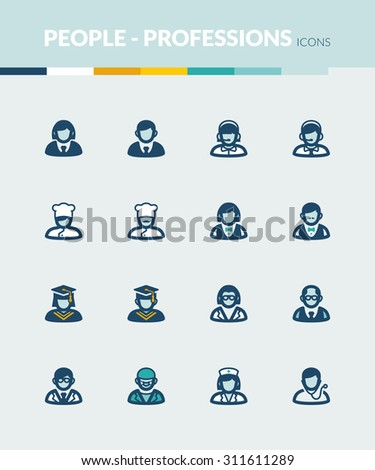 Set of colorful flat icons about  people. Professions and roles - stock vector