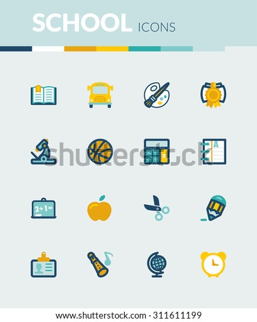Set of colorful flat icons about  school - stock vector