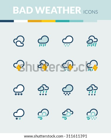 Set of colorful flat icons about the weather. Bad weather - stock vector