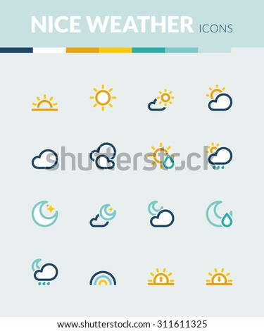 Set of colorful flat icons about  the weather. Nice weather - stock vector