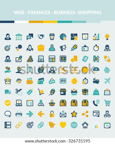 Set of colorful flat icons about web, finances, business and shopping - stock vector