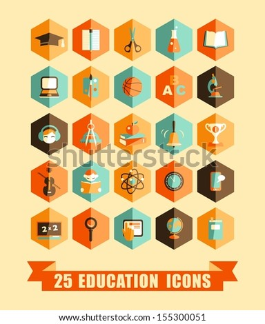 Set of colorful flat school and education icons - stock vector