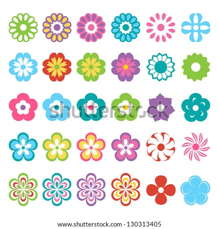 set of colorful flowers - stock vector
