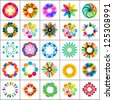 set of colorful flowers, design elements, icons, logos - stock vector