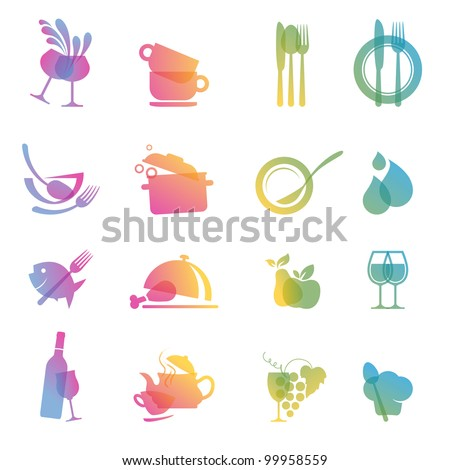 Set of colorful food and drink icons for restaurants - stock vector