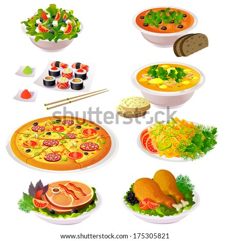 Set of colorful food icons. Isolated vector. - stock vector