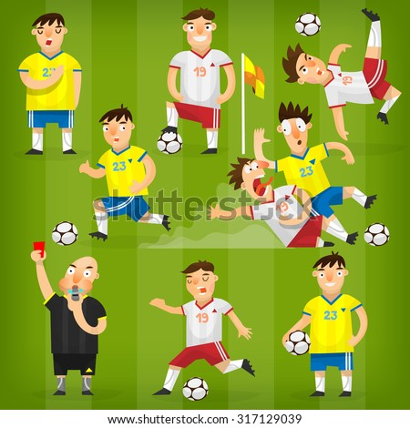 Set of colorful football players on different positions playing soccer on a green field - stock vector