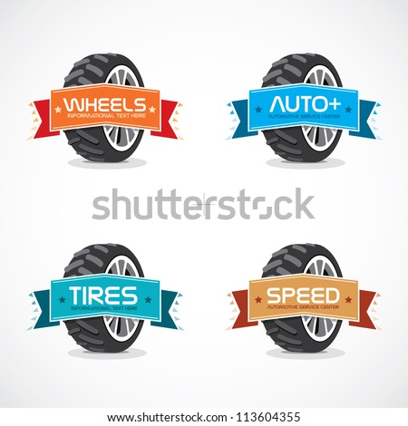Set of Colorful Frames, Stickers, Labels, Icons,, Sign, Button, Symbol, Logo With Wheel Illustration - stock vector