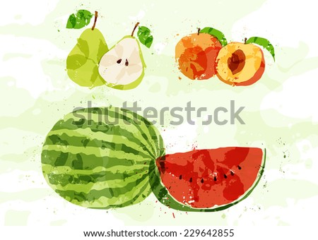 Set of colorful fresh fruit stains - stock vector
