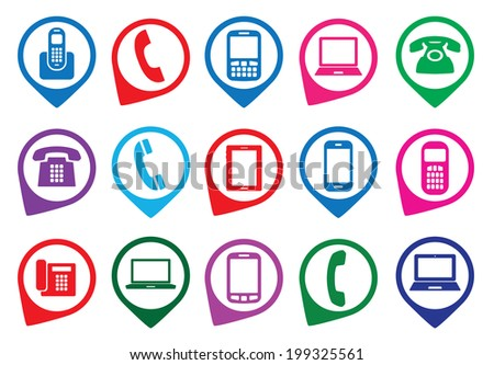 Set of colorful gadget icons. Vector illustration. - stock vector