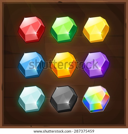 Set of Colorful Gems. Vector GUI elements for mobile games - stock vector