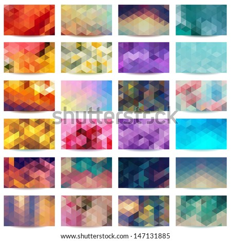 Set of colorful geometric abstract business cards. Vector illustration EPS 10. - stock vector