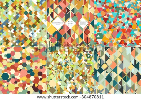 Set of colorful geometric backgrounds, abstract triangle-hexagonal-square  patterns, vector illustration. - stock vector