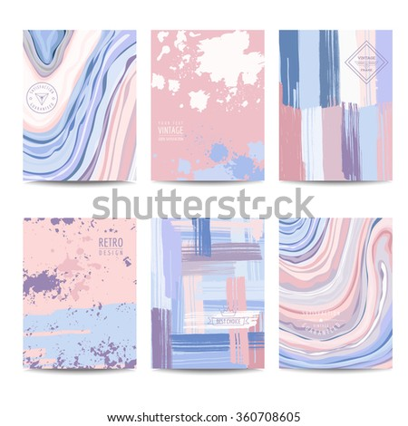 Set of Colorful Geometric Brochures and Cards - Vintage Layouts - in vector - stock vector