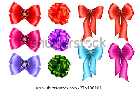 set of colorful gift bows - stock vector
