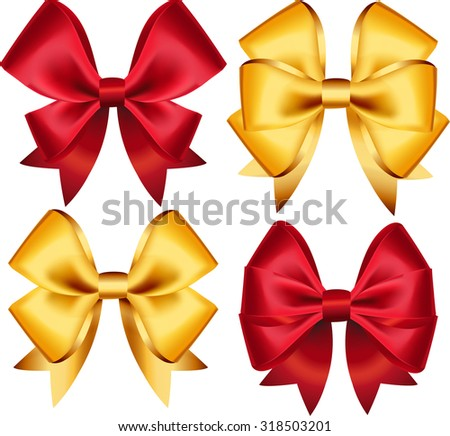 Set of colorful gift bows. Vector illustration. Created with gradient mesh. Concept for invitation, banners, gift cards, congratulation or website layout vector. - stock vector