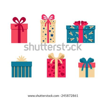 Set of colorful gift box symbols - stock vector