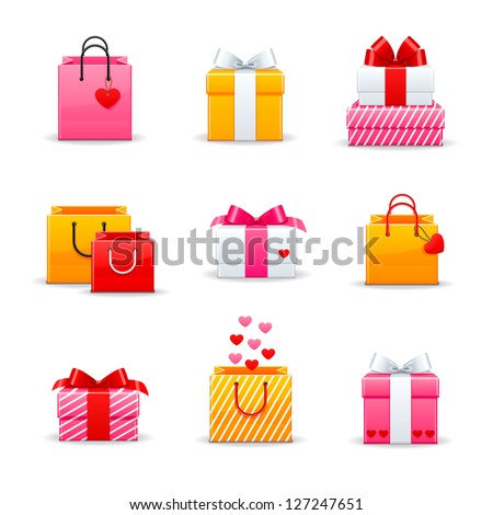 Set of colorful gift boxes - stock vector
