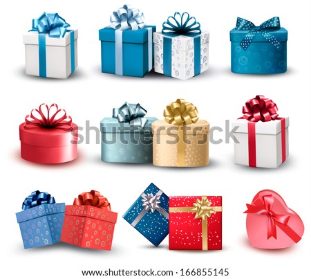 Set of colorful gift boxes with bows and ribbons. Vector illustration - stock vector