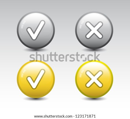 Set of colorful glossy ok and cancel buttons / icons with shadow for websites (UI) or applications (app) for smartphones or tablets - stock vector