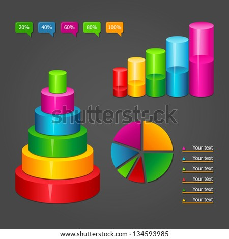 Set of colorful glossy vector diagrams icons for your business presentations. - stock vector