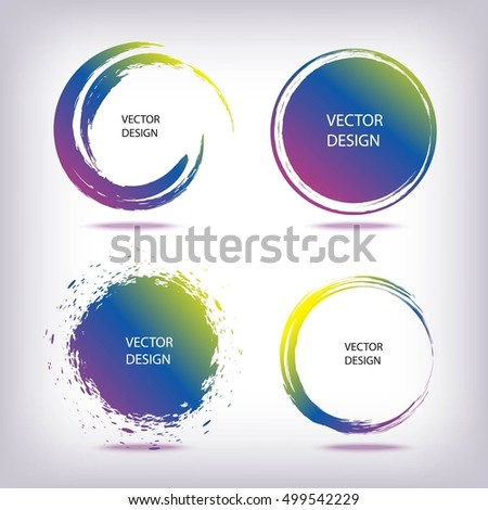 Set of Colorful Grunge Circle Stains, Shapes. Vector illustration. Hand Drawn Enso Zen Ink Collection. Logo, Label, Branding Concept.