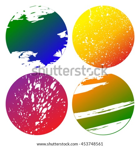 Set of colorful grunge circles shape with carved spots on white  background vector illustration. Abstract stamps