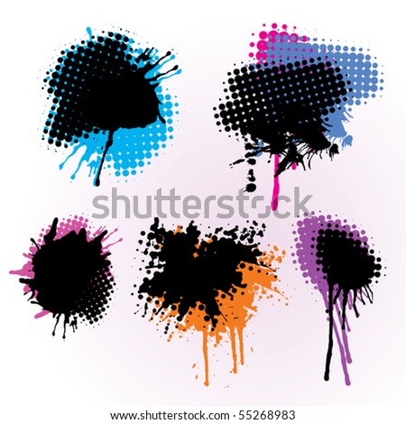 Set Of Colorful Grunge Splashes - stock vector