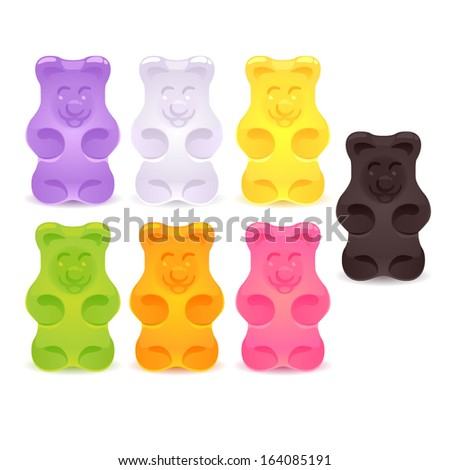 Set of colorful gummy bears. - stock vector