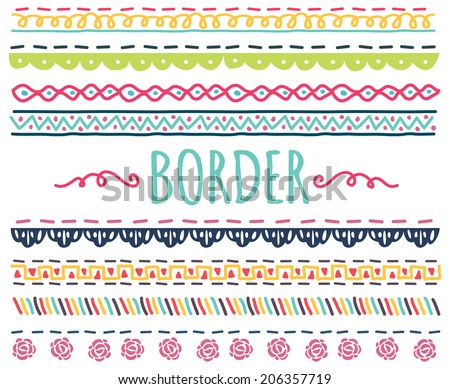 set of colorful hand drawn border - stock vector