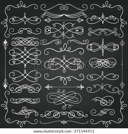 Set of Colorful Hand Drawn Doodle Design Elements. Decorative Swirls, Scrolls, Text Frames, Dividers. Chalkboard Background Texture. Chalk Drawing  Vintage Vector Illustration. - stock vector