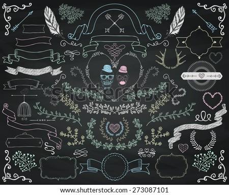 Set of Colorful Hand Drawn Doodle Floral Design Elements. Decorative Ribbons, Frames, Wreaths. Valentines Day. Wedding. Chalk Drawing Vintage Vector Illustration. Chalkboard Background Texture - stock vector