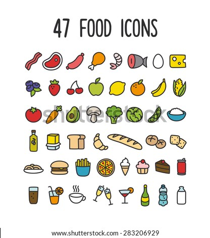 Set of colorful hand drawn doodle style food icons: meat and dairy, fruits and vegetables, processed food and drinks. - stock vector