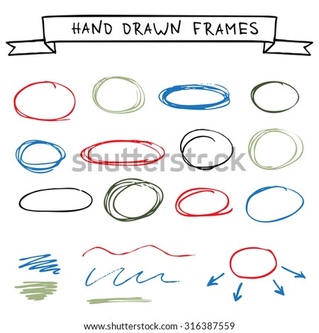 Set of colorful hand drawn frames scribble circles - stock vector