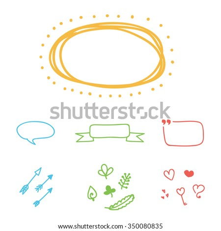 Set of colorful hand-drawn vector borders, frames and design elements.  - stock vector