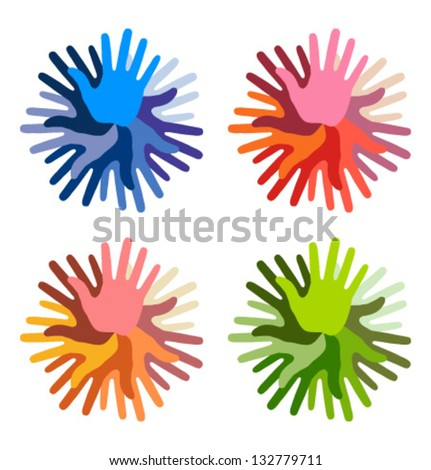 Set of colorful Hand Print icons, vector illustration - stock vector