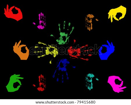 Set of colorful hand prints  isolated on black - stock vector