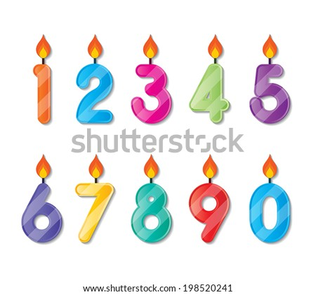 set of colorful happy birthday alphabets candles. vector. - stock vector