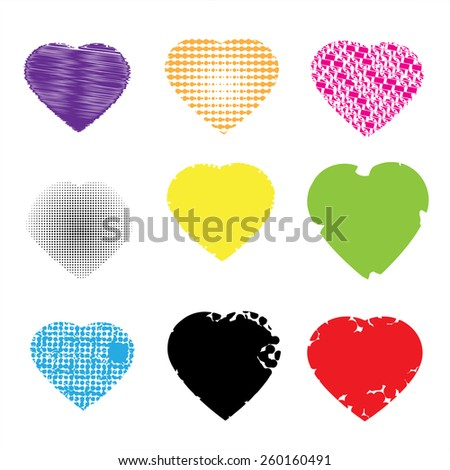 Set of colorful hearts on red background, vector illustration  - stock vector