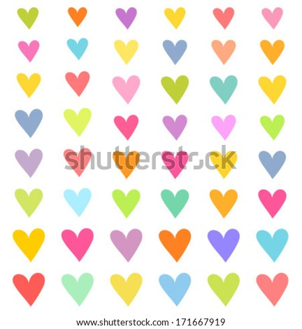 Set of colorful hearts. Vector illustration - stock vector