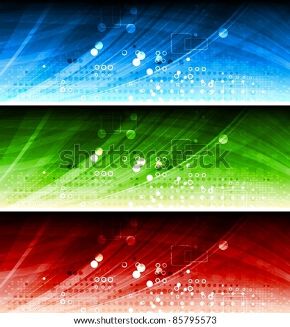 Set of colorful hi-tech banners. Eps 10 vector - stock vector