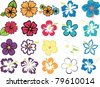 set of colorful hibiscuses and plumeria - stock vector