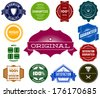 Set of colorful hipsters vintage premium labels - stock vector