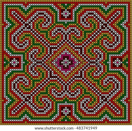 Granny Squares Geometric Pattern On Black Stock Vector 519727654