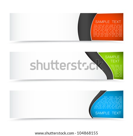 Set of colorful horizontal banners on a light background - stock vector