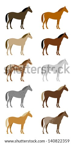Set of colorful horses - stock vector
