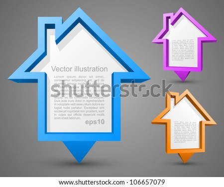 Set of colorful house pointers. - stock vector
