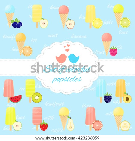 Set of colorful ice cream desserts. Vector illustration. - stock vector